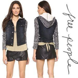 Free People Hoodie Jean Sweater Jacket